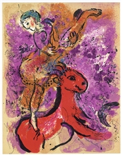 "Marc Chagall ""Woman Circus Rider on Red Horse"" original lithograph"