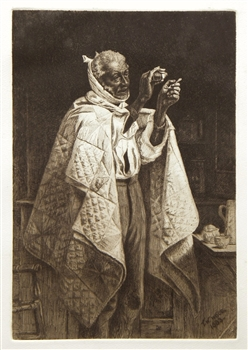 "Thomas Waterman Wood ""His Own Doctor"" original etching"
