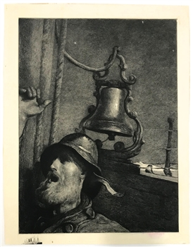 "Winslow Homer etching ""The Lookout -- All's Well"""