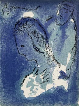 "Marc Chagall ""Abraham and Sarah"" original Bible lithograph"