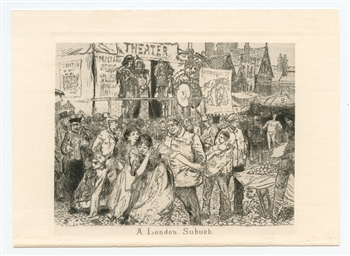 "Robert Frederick Blum ""A London Suburb"" original etching"