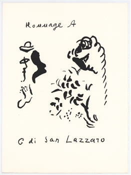 Marc Chagall original lithograph | Homage to San Lazzaro, 1975