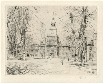 "Childe Hassam pencil-signed etching ""Independence Hall, Philadelphia"""