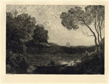 "Jean-Baptiste Corot etching ""Soleil Couchant"""