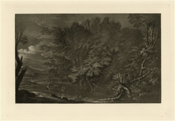 "Salvator Rosa ""Mercury and the Woodman"" mezzotint"
