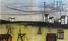 "Bernard Buffet original lithograph ""A Small Beach"""