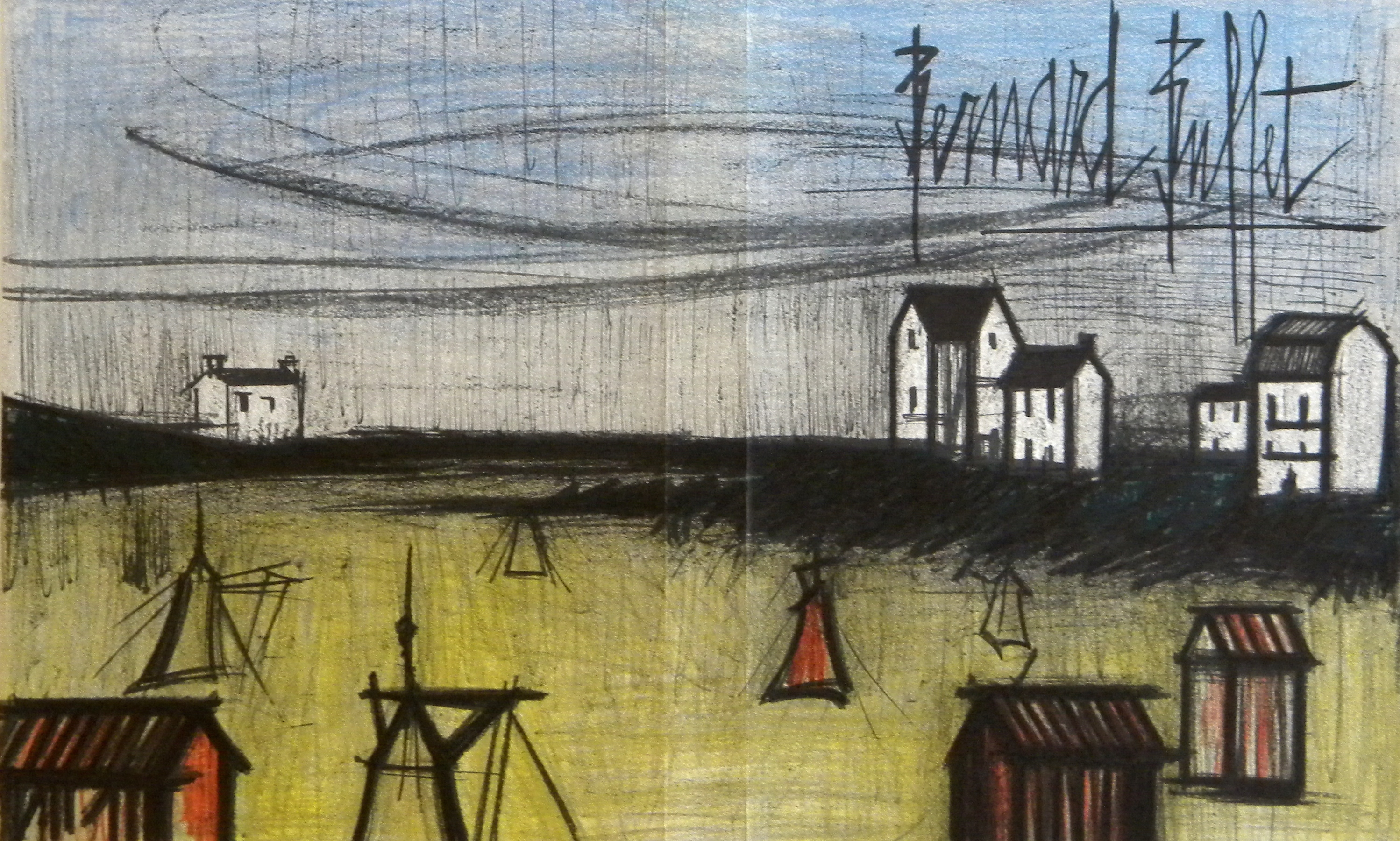 Fine Bernard Buffet Original Lithograph A Small Beach Download Free Architecture Designs Lectubocepmadebymaigaardcom