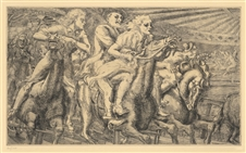"Reginald Marsh original etching ""Wooden Horses"""