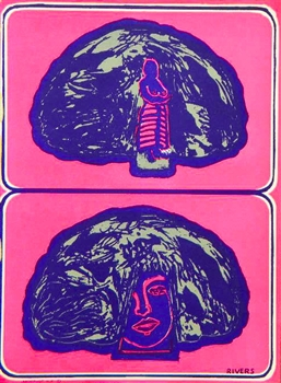 "Larry Rivers original lithograph ""Hut can be a Hairdo"""