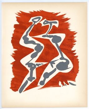 "Andre Masson original lithograph ""Seduction, en rouge, gris et blanc"""