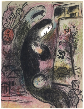 Marc Chagall original lithograph L'Inspire, Inspiration
