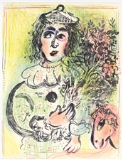 Marc Chagall original lithograph Le Clown Amoureux