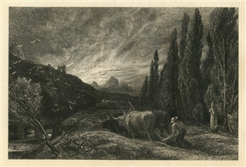 "Samuel Palmer original etching ""The Early Ploughman"""