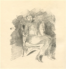 James Whistler lithograph Firelight a Portrait of Joseph Pennell