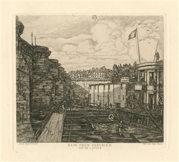 Charles Meryon etching Bain-Froid Chevrier