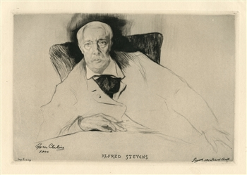 "Edgar Chahine ""Alfred Stevens"" original etching and drypoint"