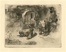 "Felix Buhot ""Gardiens du Logis"" original etching and aquatint"
