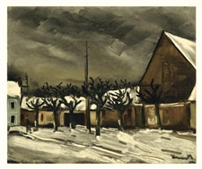 "Maurice de Vlaminck lithograph ""Lime Trees under Snow"""