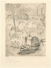 Rudolf Grossmann Gypsy Wagon signed original etching