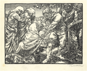 Peter Trumm Coriolanus and his Mother signed original woodcut