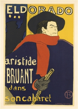 Toulouse-Lautrec lithograph poster Aristide Bruant