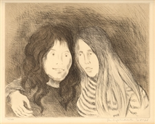 "Raphael Soyer signed / numbered etching and aquatint ""Friends"""