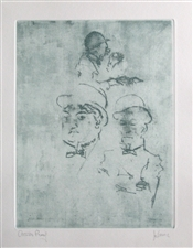 "Jack Levine signed etching ""Thieves"""
