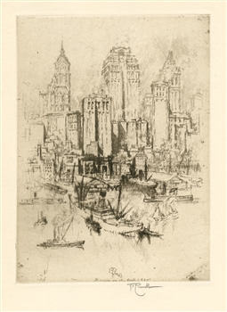 "Joseph Pennell ""My New York"" signed original etching"