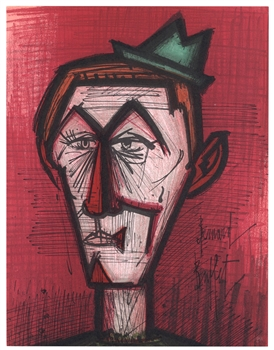"Bernard Buffet original lithograph ""Clown on a Red Background"""
