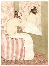 "Mary Cassatt etching and aquatint ""The Coiffure"""