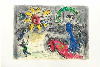 "Marc Chagall ""Sun with Red Horse"" original lithograph"