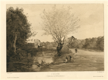 Jean-Baptiste Corot etching L'ecluse