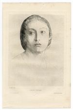 Alphonse Legros original etching Extase poetique
