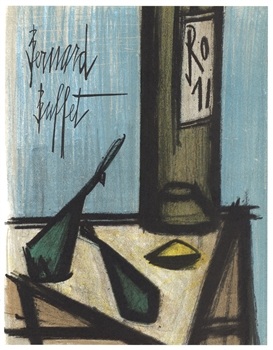 "Bernard Buffet original lithograph ""Still Life with Bottle"""