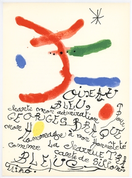 Joan Miro original lithograph | Homage to Georges Braque