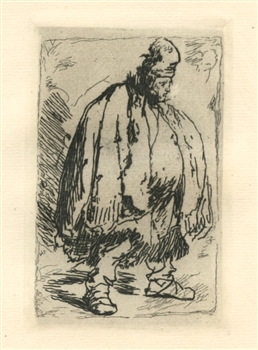 "Rembrandt van Rijn (after) ""A Stout Man in a large Cloak"" etching"