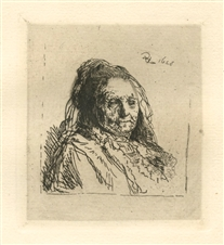 "Rembrandt van Rijn (after) ""The Artist's Mother"" etching"