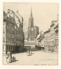 "Georges Gobo original etching ""Herman Armour Webster original etching ""La place de l'hopital a Strasbourg"""""