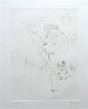 "Jack Levine signed original etching ""Tunbridge Girls with McHeath in Flight"""