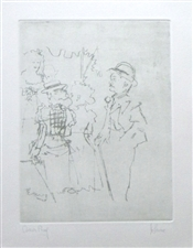 "Jack Levine signed original etching ""Mack sees Polly Peachum"""