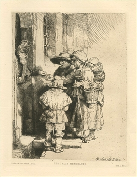 "Rembrandt van Rijn (after) ""Beggars Receiving Alms"" etching"