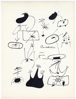 "Joan Miro lithograph ""Constellations d'une femme assise"""