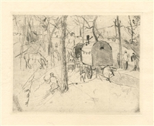 Rudolf Grossmann original etching | Gypsy Wagon
