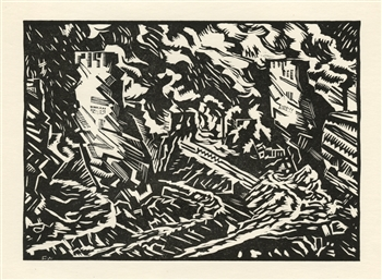 "Edward Wadsworth original woodcut ""Tarmac"""