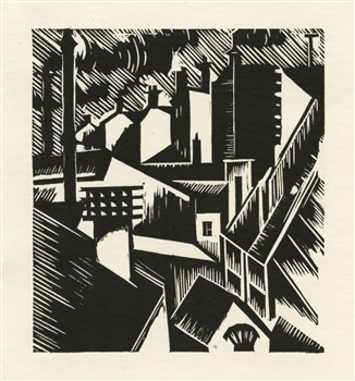 "Edward Wadsworth original woodcut ""Townscape"""
