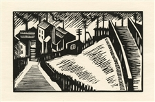 "Edward Wadsworth original woodcut ""Landscape: West Riding"""