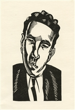 "Edward Wadsworth original woodcut ""Head (Rupert Doone)"""