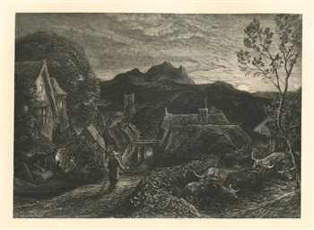 "Samuel Palmer ""The Bellman"" from the Shorter Poems of John Milton"
