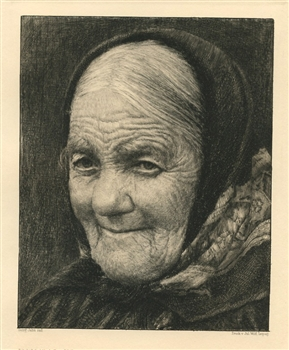 "Georg Jahn original etching ""Alte Frau"""