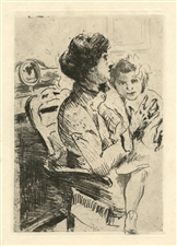 "Lovis Corinth original etching ""Mutter und Kind"""